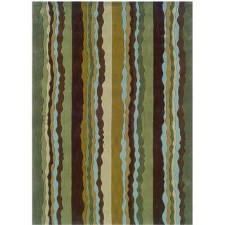 Hand Tufted Trio Collection Stripe Polyester Rug (Green 110 X 210)
