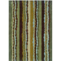 Hand Tufted Trio Collection Stripe Green & Spa Blue Polyester Rug (1.10 x 2.10)
