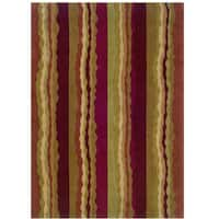 Hand Tufted Trio Collection Stripe Rust & Green Polyester Rug (1.10 x 2.10) - 1'10 x 2'10