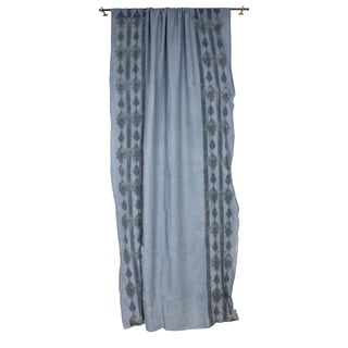 Sagebrook Home Blue Linen Lace Embroidered Window Curtain Panel