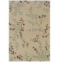 Hand Tufted Trio Collection Branches Beige & Blue Polyester Rug (1.10 x 2.10)