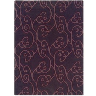 Hand Tufted Trio Collection Simon Aubergine & Violet Polyester Rug (1.10 x 2.10)