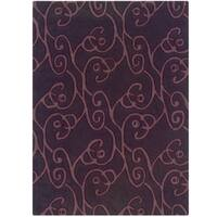 Hand Tufted Trio Collection Simon Aubergine & Violet Polyester Rug - 1.10 x 2.10