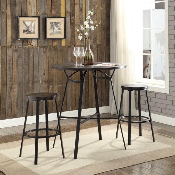Acme Furniture Dora Weathered Dark Oak/Black 3-piece Bar Set - Free ...