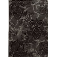 "Power Loomed Jewel Collection Medallion Black Polypropylene Rug (8' X 10'4"")"