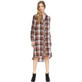 Women's Plaid Cotton Long Sleeve Shirt Dress