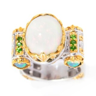 Michael Valitutti Palladium Silver Ethiopian Opal and Chrome Diopside Euro Shank Ring
