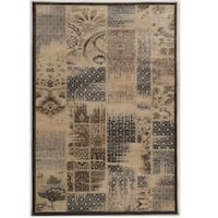 Power Loomed Jewel Collection Vintage Patch Work Beige Polypropylene Rug