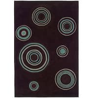 Hand Tufted Trio Collection Bullseye Brown & Blue Polyester Rug (8 x 10)