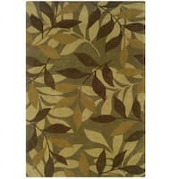 Hand Tufted Trio Collection Froest Floor Green & Brown Polyester Rug (8 x 10)