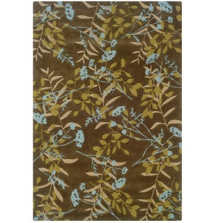 Hand Tufted Trio Collection Meadow Brown & Blue Polyester Rug (8 x 10)