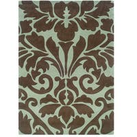 Hand Tufted Trio Collection Damask Brown & Blue Polyester Rug (8 x 10)