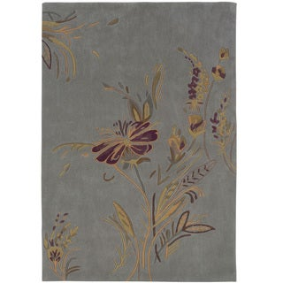 Hand Tufted Trio Collection Plate Blue & Gold Polyester Rug (8 x 10)
