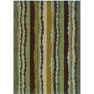 Hand Tufted Trio Collection Stripe Green & Blue Polyester Rug (8 x 10)