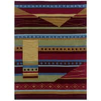 Hand Tufted Trio Collection Green & Red Polyester Rug - 8 x 10