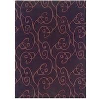 Hand Tufted Trio Collection Simon Aubergine  & Purple Polyester Rug (8 x 10)