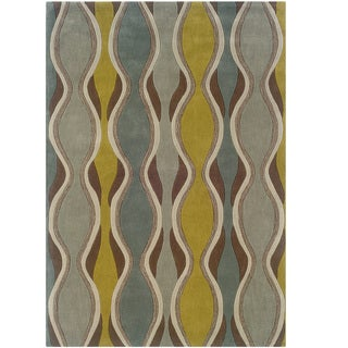 Hand Tufted Trio Collection Wave Brown & Blue Polyester Rug (8 x 10)