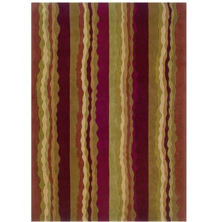 Hand Tufted Trio Collection Stripe Polyester Rug (Rust 8 X 10)