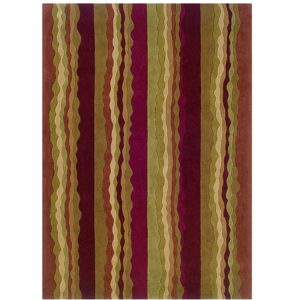 Hand Tufted Trio Collection Stripe Rust & Green Polyester Rug (8 x 10) - 8' X 10'