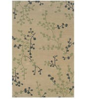 Hand Tufted Trio Collection Branches Beige & Blue Polyester Rug - 8 x 10