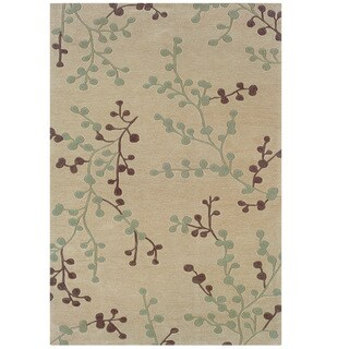 Hand Tufted Trio Collection Branches Beige & Blue Polyester Rug (8 x 10)