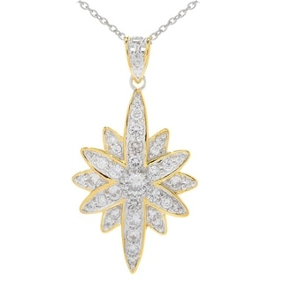 Michael Valitutti Palladium Silver White Zircon Elongated Flower Pendant w/ 18 Cable Chain with 2 Ext