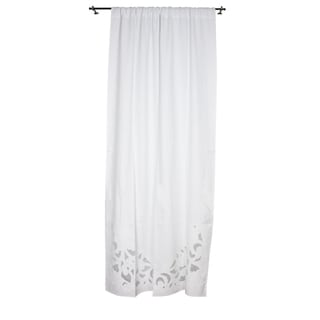 Sagebrook Home White Linen Embroidered Applique Window Curtain Panel
