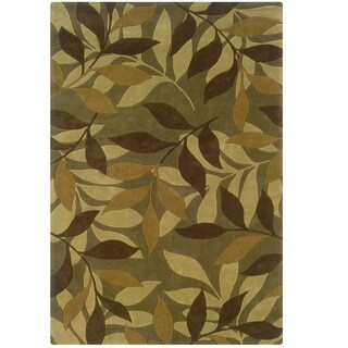 Hand Tufted Trio Collection Forest Floor Green & Brown Polyester Rug (5' X 7')