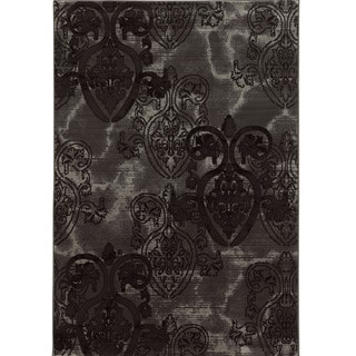 Linon Power Loomed Jewel Collection Medallion Polypropylene Rug (Grey 8 x 104)