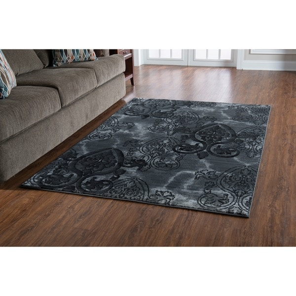 Linon Power Loomed Jewel Collection Medallion Polypropylene Rug
