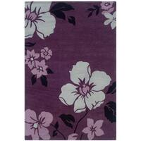 Hand Tufted Trio Floral Purple & Ivory Polyester Rug (5' X 7')