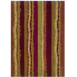 Hand Tufted Trio Collection Stripe Rust & Green Polyester Rug (5' X 7')