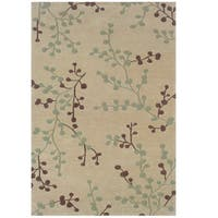 Hand Tufted Trio Collection Branches Beige & Blue Polyester Rug (5' X 7')