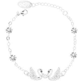 Matashi Rhodium-plated Bracelet with Loving Swans Design with Lobster Clasp and High-quality Clear Crystals