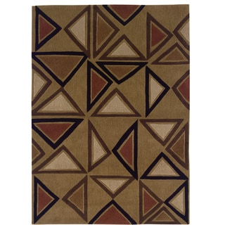 Hand Tufted Trio Collection Aztec Camel & Red Polyester Rug (5' X 7')