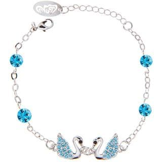 Blue Matashi Crystal Rhodium Plated Loving Swan Bracelet