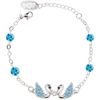 Blue Matashi Crystal Rhodium Plated Loving Swan Bracelet