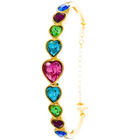 Matashi MTJB453 Champagne Goldplated Bracelet with Heart Chain Design and High Quality Multi-Colored Crystals