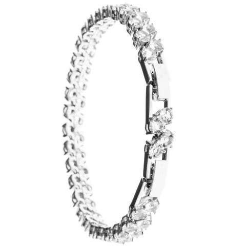 Matashi MTJB552 White Goldplated Bracelet with High Quality Double Crystal Design and a Sturdy Elegant Clasp