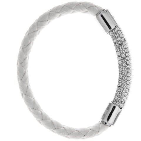 Matashi Mtjb533B White Gold Plated Bracelet With Glittering Crystals Designed Segment (Options A