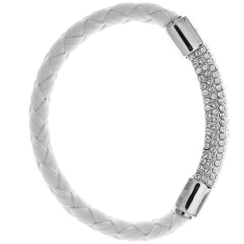 Matashi White Gold Plated Bracelet With Glittering Crystals Designed Segment