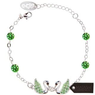 Matashi Rhodium-Plated Green Loving Swans Link Bracelet