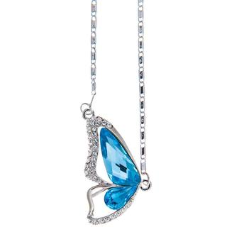 Matashi Rhodium Plated Ocean Blue Crystal Butterfly Wing Necklace
