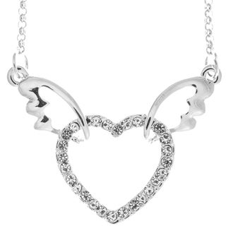 Matashi Rhodium-plated Winged Heart Design Necklace with 16-inch Extendable Chain and High-quality Clear Crystals