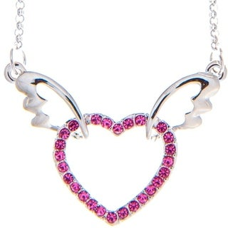 Matashi Rhodium Plated Purple Crystal Winged Heart Necklace