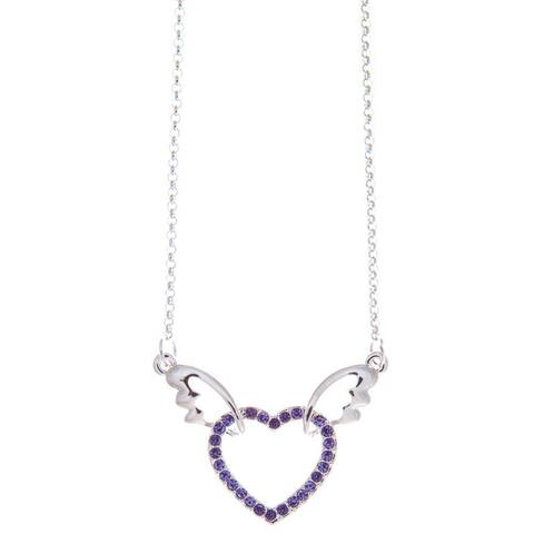 """Rhodium Plated Necklace with Winged Heart Design with a 16"""" and High Quality Purple Crystals by Matashi"""