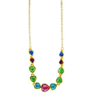 Matashi Champagne Goldplated High-quality Multicolored Crystals String of Hearts Necklace
