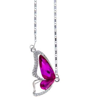 Matashi Rhodium-plated Butterfly Wing Necklace with 16-inch Extendable Chain and High-quality Amaranth Colored Crystals