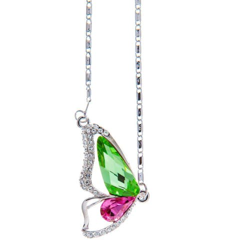 """Rhodium Plated Necklace with Butterfly Wing Design with a 16"""" and High Quality Pink and Green Crystals by Matashi"""