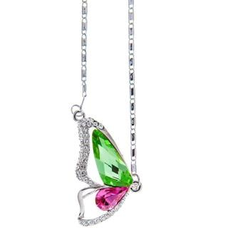 Matashi Rhodium Plated Green/Pink Crystal Butterfly Wing Necklace